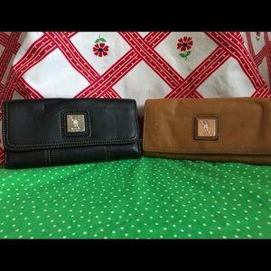 Brown and Black Tignanello Leather Wallets